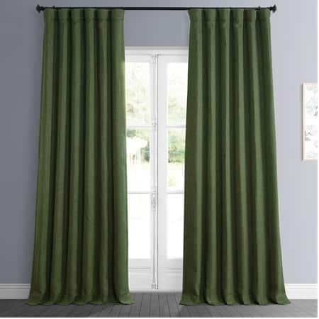 Tuscany Green Faux Linen Blackout Room Darkening Curtain