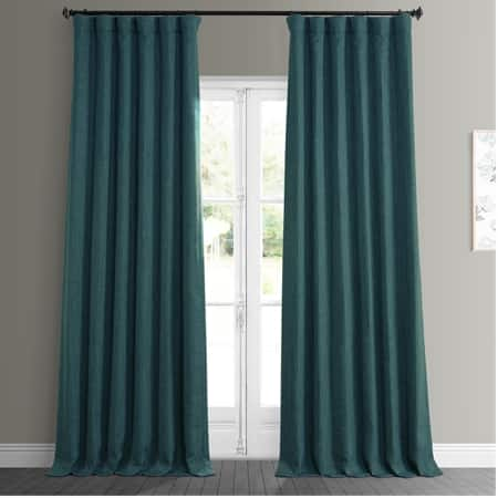 Slate Teal Faux Linen Blackout Room Darkening Curtain