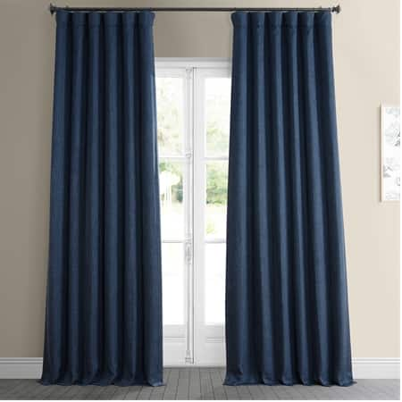 Indigo Faux Linen Room Darkening Curtain