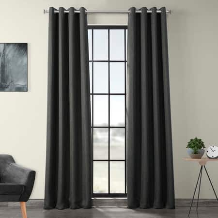 Dark Gravel Faux Linen Grommet Blackout Room Darkening Curtain