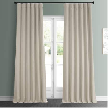 Thatched Tan Faux Linen Blackout Room Darkening Curtain