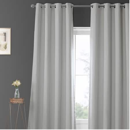 Oyster Faux Linen Grommet Blackout Room Darkening Curtain