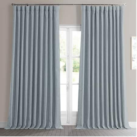 Heather Grey Faux Linen Extra Wide Blackout Room Darkening Curtain