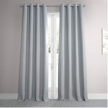 Heather Grey Faux Linen Grommet Blackout Room Darkening Curtain