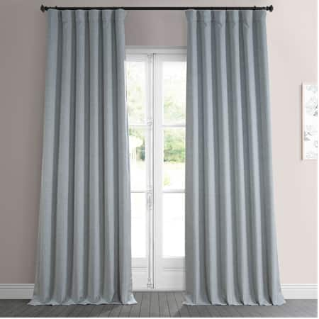 Heather Grey Faux Linen Room Darkening Curtain