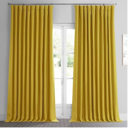 Graphic Gold Faux Linen Extra Wide Room Darkening Curtain