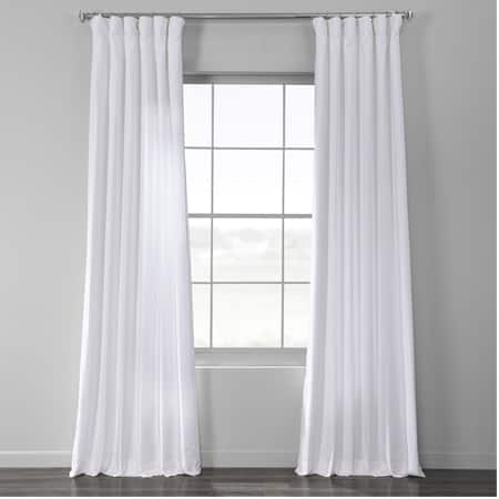 Ultra White Bark Weave Solid Cotton Curtain