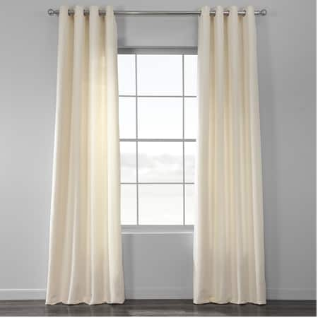 Pale Ivory Cotton Textured BarkWeave Grommet Curtain