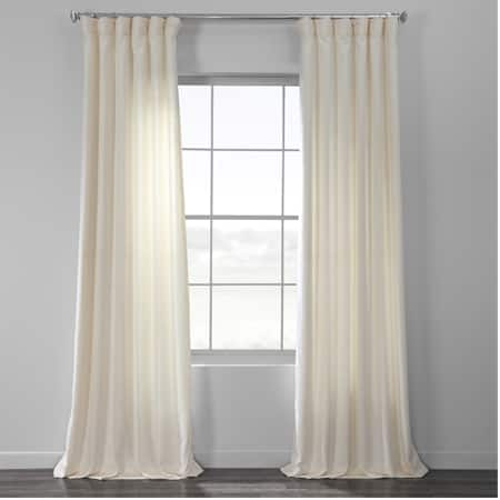 Pale Ivory Bark Weave Solid Cotton Curtain