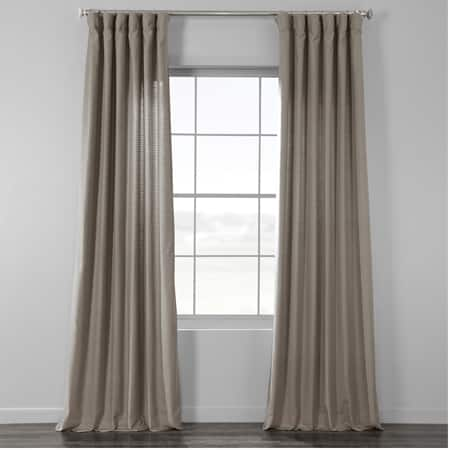 Bluff Grey Bark Weave Solid Cotton Curtain