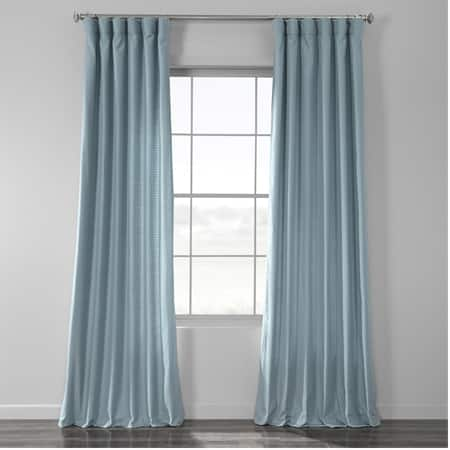 Dusky Blue Cotton Textured BarkWeave Curtain