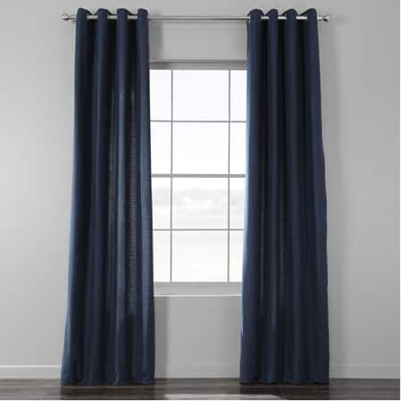 Elegant Navy Cotton Textured BarkWeave Grommet Curtain