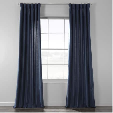 Elegant Navy Bark Weave Solid Cotton Curtain