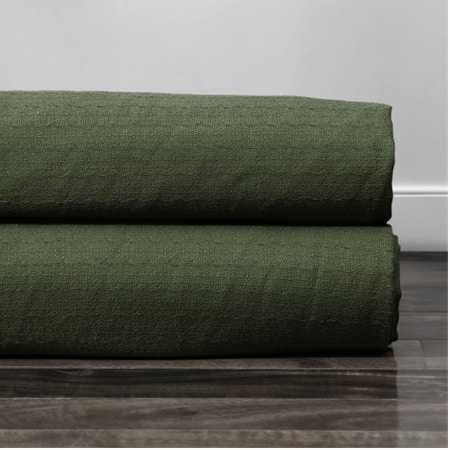 French Green Cotton Textured BarkWeave Fabric