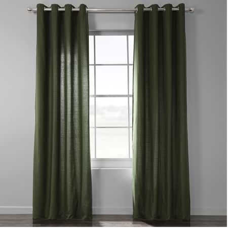 French Green Bark Weave Solid Cotton Grommet Curtain