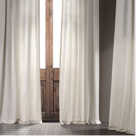 Natural Cream Cotton Textural LinenWeave Curtain