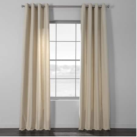 Light Beige Cotton Textural LinenWeave Grommet Curtain