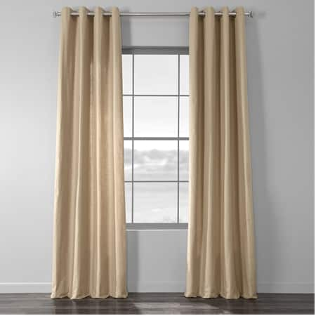 Camel Tan Cotton Textural LinenWeave Grommet Curtain