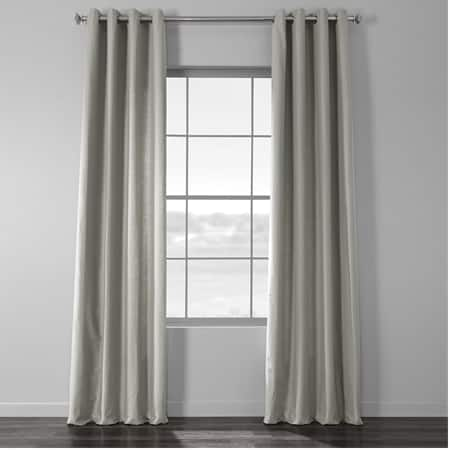 Mist Grey Cotton Textural LinenWeave Grommet Curtain