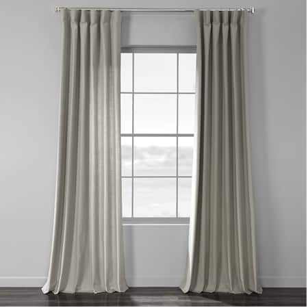 Mist Grey Cotton Textural LinenWeave Curtain