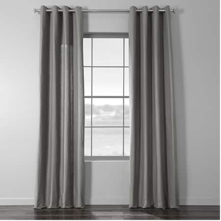 Graphite Grey Cotton Textural LinenWeave Grommet Curtain