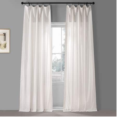 Realness White Solid Classic Cotton Semi Sheer Curtain Pair (2 Panels)