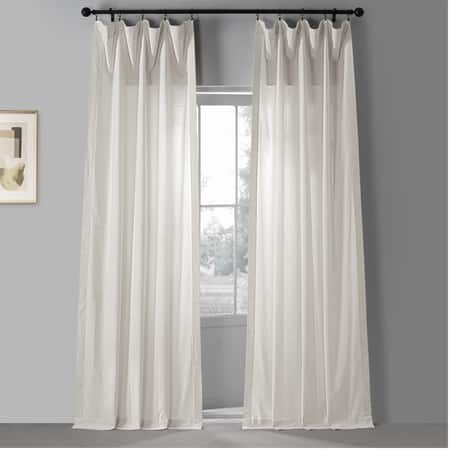 Eclair Cream Solid Classic Cotton Semi Sheer Curtain Pair (2 Panels)