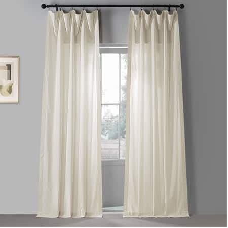 Urban Beige Solid Classic Cotton Semi Sheer Curtain Pair (2 Panels)