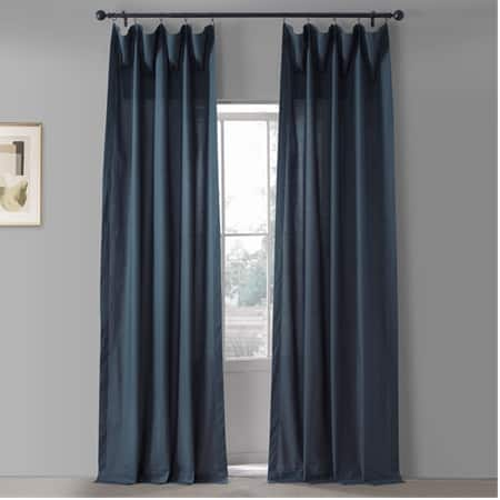 Studio Blue Solid Classic Cotton Semi Sheer Curtain Pair (2 Panels)