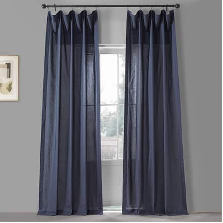 Acai Blue Solid Classic Cotton Semi Sheer Curtain Pair (2 Panels)