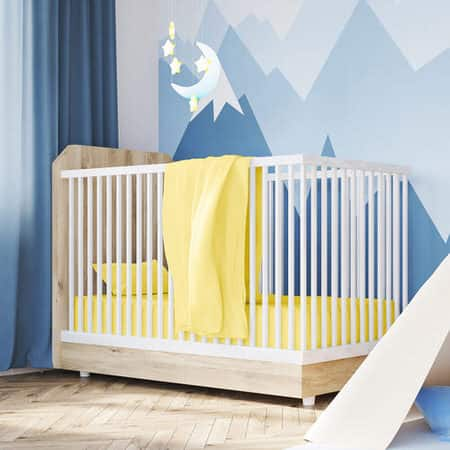 Cotton Jersey Yellow Crib Sheets