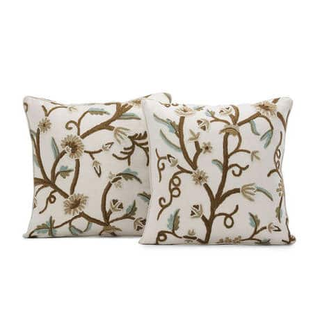 Frances Embroidered Cotton Crewel Cushion Cover - Pair