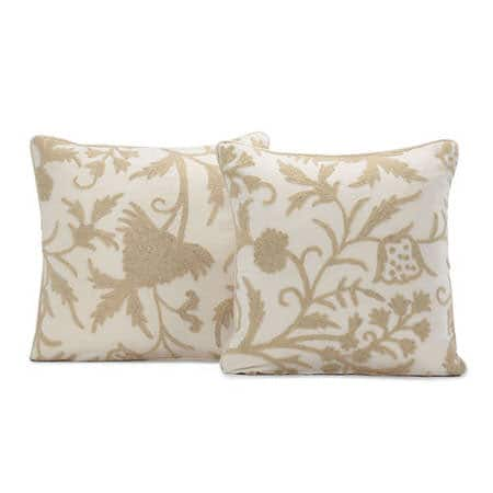 Celine Cream Embroidered Cotton Crewel Cushion Cover - Pair