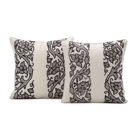 Florence Grey Embroidered Cotton Crewel Cushion Cover - Pair