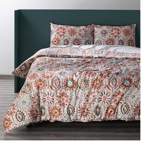 Rio Multi Cotton Double Slub Linen Weave Reversible Duvet Set