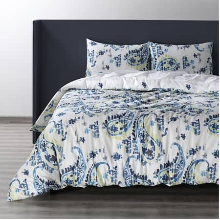 Delhi Blue Cotton Double Slub Linen Weave Reversible Duvet Set