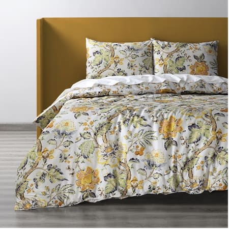 Larkspur Gold Cotton Double Slub Linen Weave Reversible Duvet Set