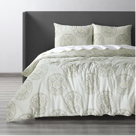 Fortune Grey Cotton Double Slub Linen Weave Reversible Duvet Set