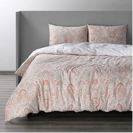 Grammercy Coral Cotton Double Slub Linen Weave Reversible Duvet Set