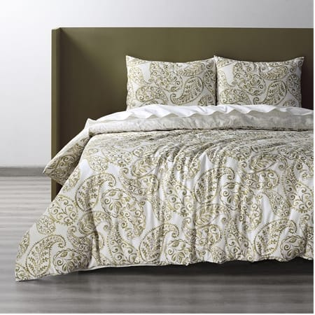 Ashra Taupe Cotton Double Slub Linen Weave Reversible Duvet Set