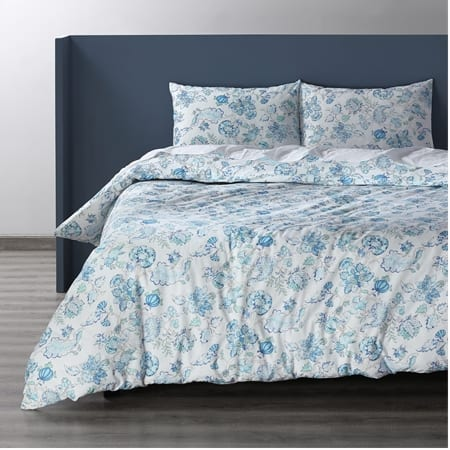 Merriweather Blue Cotton Double Slub Linen Weave Duvet Set