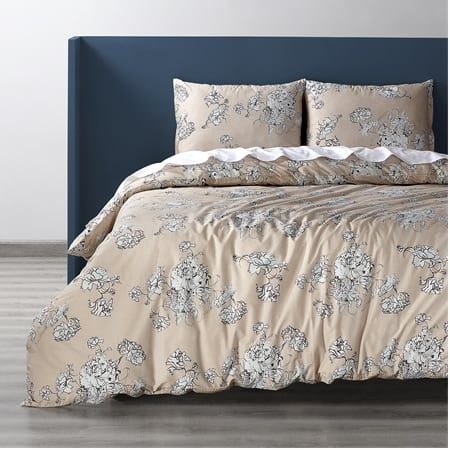 Bancroft Tan Cotton Percale Printed Duvet Cover Set