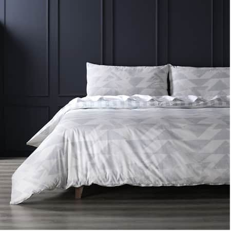 Triad Smoke Cotton Percale Printed Reversible Duvet Cover Set