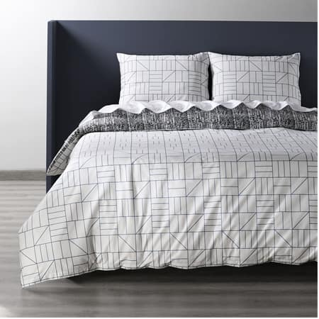 Rave Blue Cotton Percale Printed Reversible Duvet Cover Set