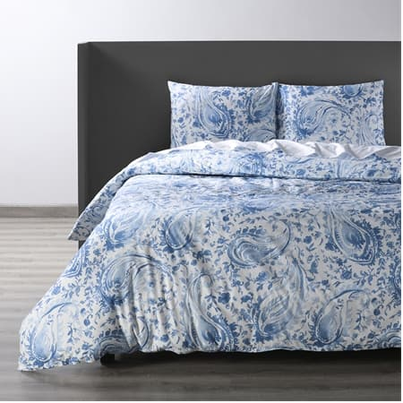 Mystic Blue Cotton Percale Printed Duvet Cover Set