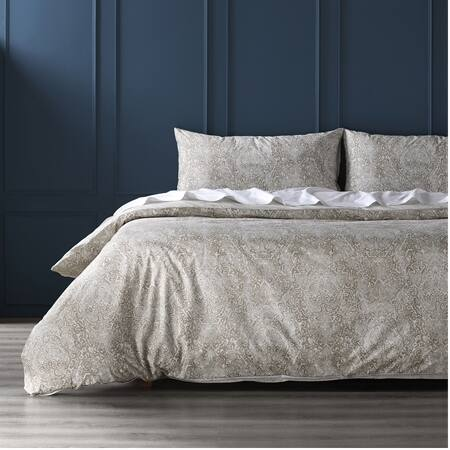 Palmer Taupe Cotton Percale Printed Reversible Duvet Cover Set