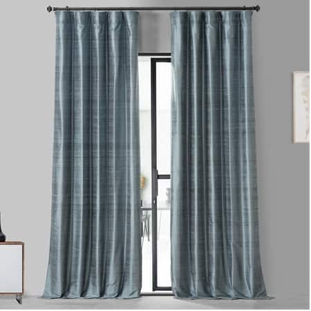 Mood Blue Textured Dupioni Silk Curtain