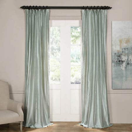 Cambridge Silver Aqua Silk Stripe Curtain