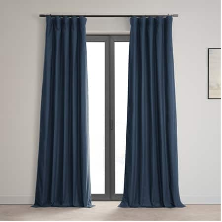 Noble Navy Dune Textured Hotel Blackout Cotton Curtain