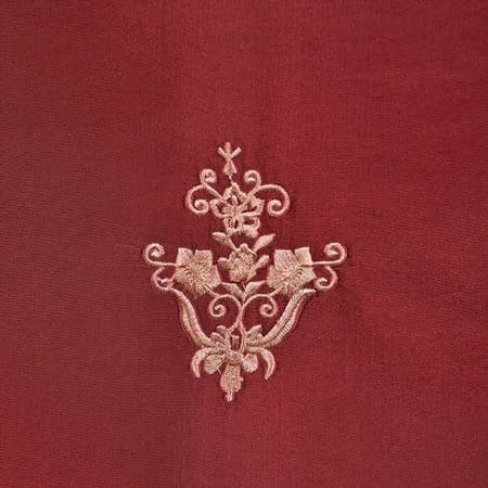 Trophy Syrah Embroidered Faux Silk Taffeta Fabric